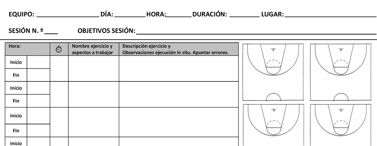 Ficha para Sesiones de Baloncesto