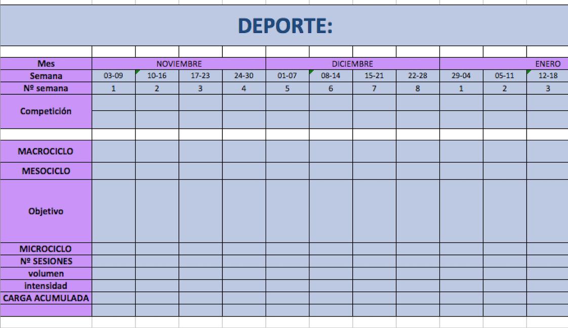 Ficha Planificación Anual Básica. Planificación de la Temporada