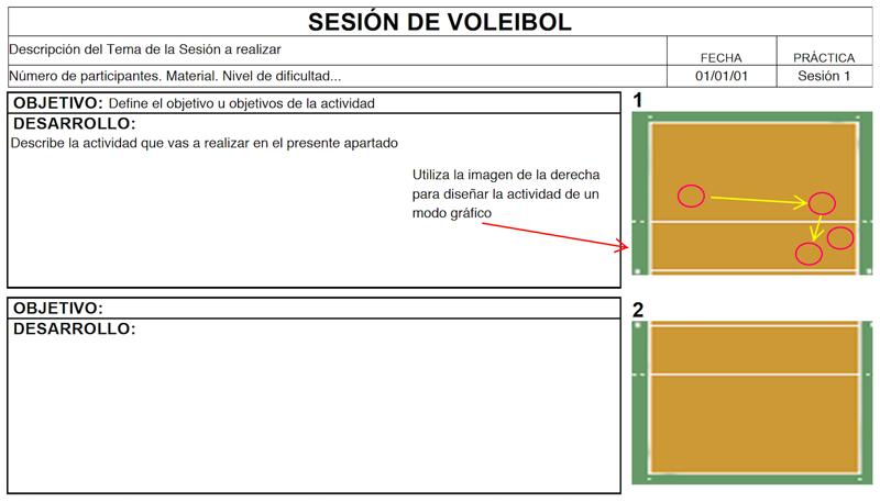 Ficha para Sesiones de Voleibol